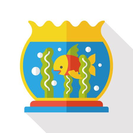 goldenfish: fish bowl flat icon