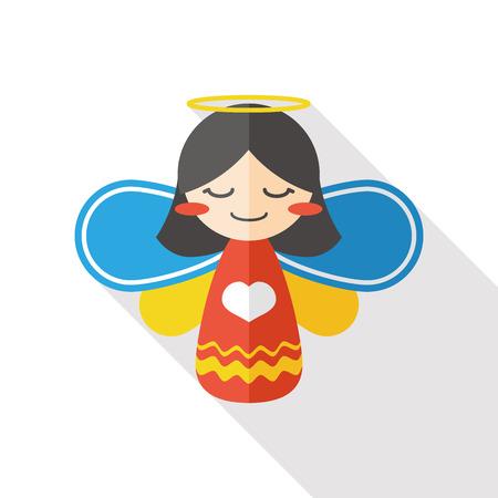 guardian angel: ángel icono plana Vectores