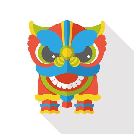 dragones: Año Nuevo chino icono plana; La cabeza del dragón y la danza del león