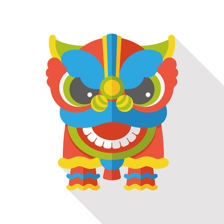 lion dance: Chinese New Year flat icon; The dragon and lion dancing head