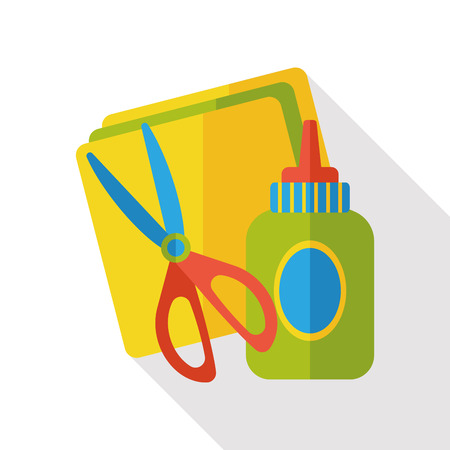 glue, paper and scissors flat icon