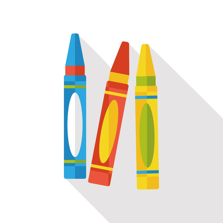 black and white line drawing: crayon flat icon Illustration