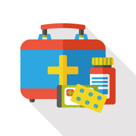 first aid sign: first aid kit flat icon Illustration