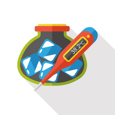 thermometer: Termómetro médico icono plana