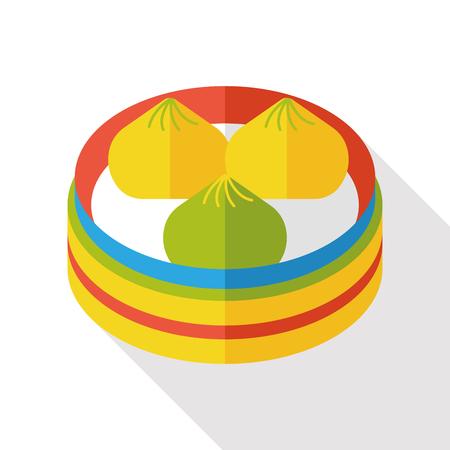 yum: Steamed stuffed bun flat icon
