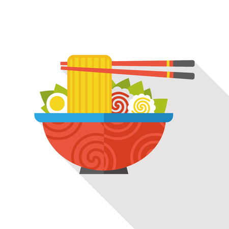 noodle flat icon Stock Illustratie