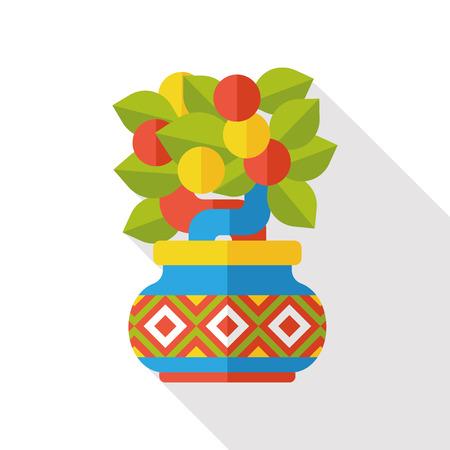 mandarin oranges: Chinese New Year Mandarin Oranges flat icon Illustration