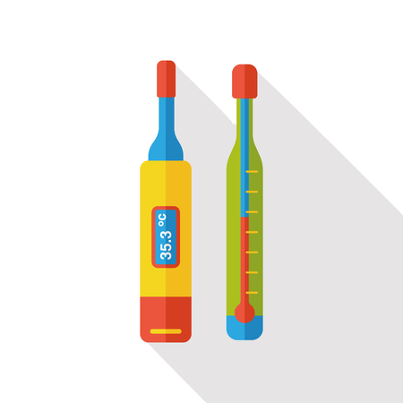 digital thermometer: medical thermometer flat icon Illustration
