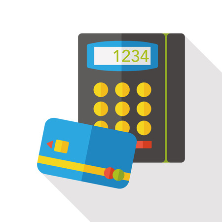 creditcard: Shopping credit card machine flat icon Illustration
