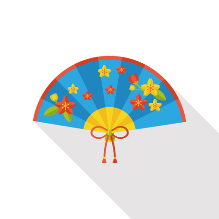open fan: Chinese New Year flat icon; Folding fan with Chinese blessing words  Happy New Year.