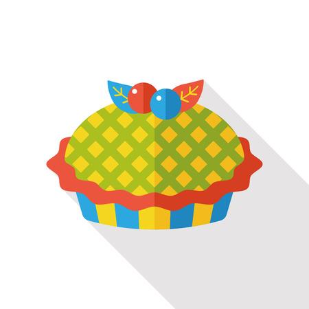 blueberry pie: pie flat icon Illustration