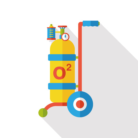 pressure bottle: Oxygen bottles flat icon Vectores