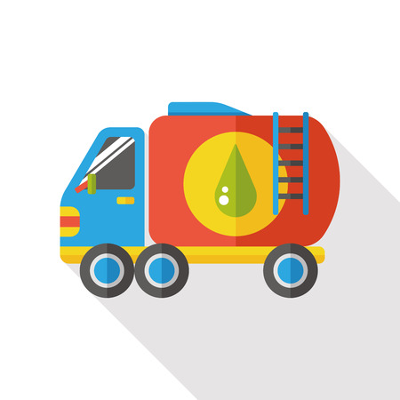 cars on road: Water tank car flat icon