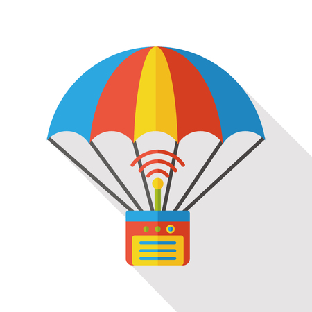 hot air: hot air balloon cargo flat icon