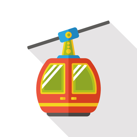 cableway: cable car flat icon Illustration