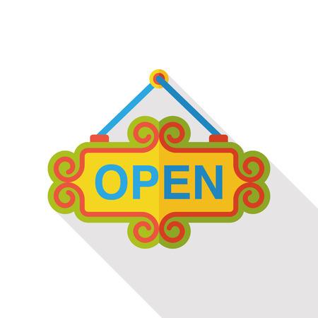 white door: shop open sign icon Illustration