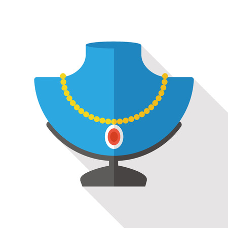 diamond necklace: diamond necklace flat icon Illustration