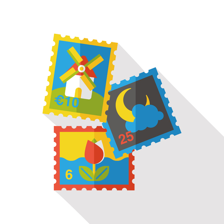 verzamelen: collect stamp flat icon