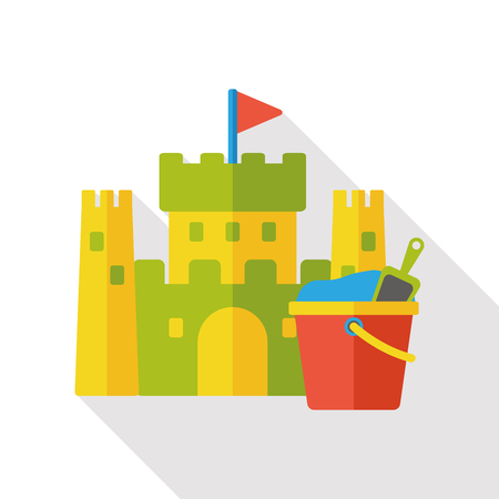 castle sand: sand castle and bucket flat icon Vectores