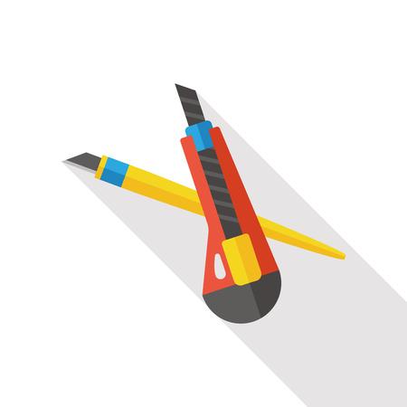 dangerous work: Utility knife flat icon
