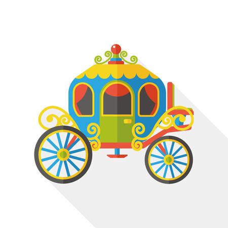 caballo negro: coche de caballos icono plana