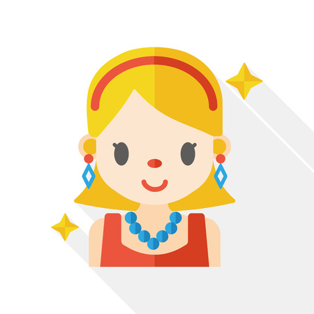 attractive: beauty girl flat icon Illustration