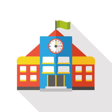 college education: school building flat icon