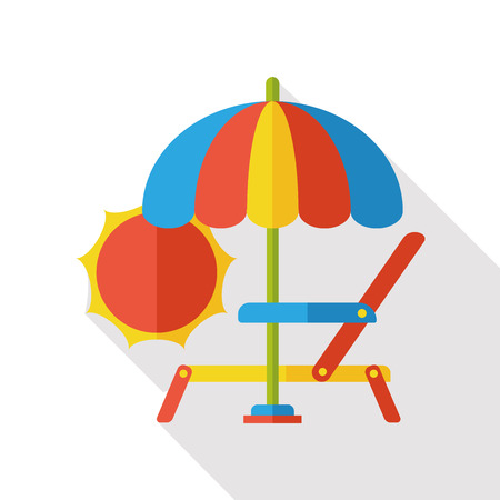 patio deck: lounge chair flat icon Illustration
