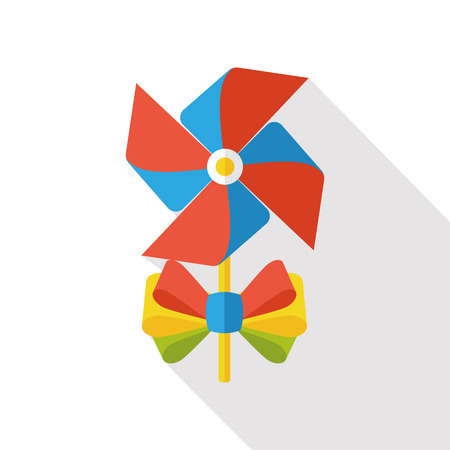 windmill toy: baby toy windmill flat icon Illustration