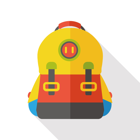 school backpack: school backpack flat icon Illustration