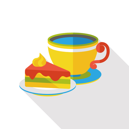 coffee and cake flat icon