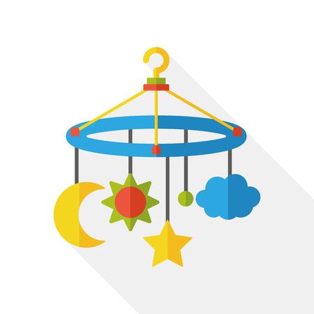 baby crib: baby hanging flat icon
