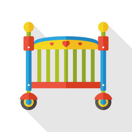 cute baby girls: baby bed flat icon Illustration