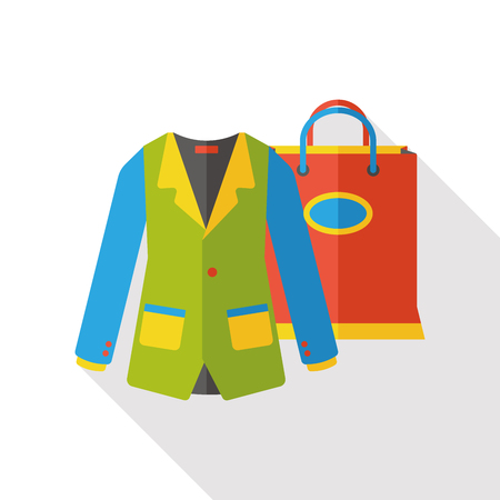 shoppingbag: suit and shopping bag flat icon Illustration