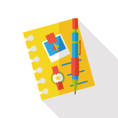 foto carnet: travel notebook flat icon Vectores