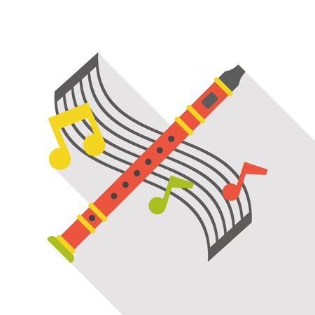 instrument flute flat icon