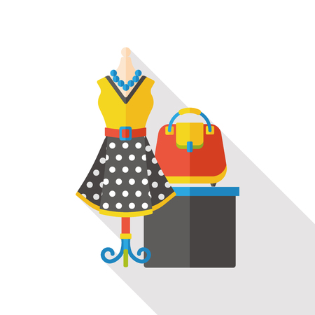 pretty dress: dress and bag flat icon