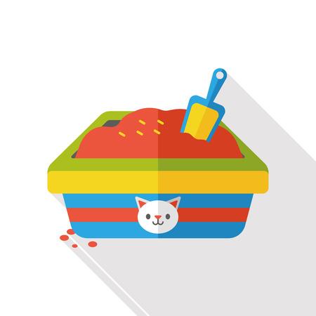 litter: cat litter box flat icon