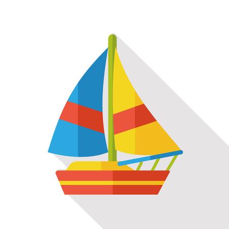chaloupe: bateau de transport de l'ic�ne plat