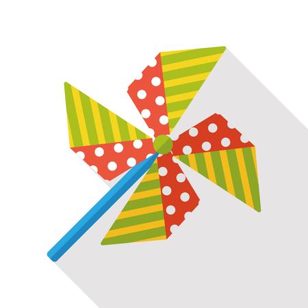 wind wheel: Windmill flat icon Illustration