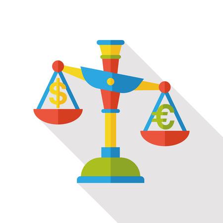 lawyer court: Balance level flat icon Illustration