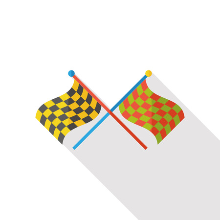 racing checkered flag crossed: sport race flag flat icon Illustration