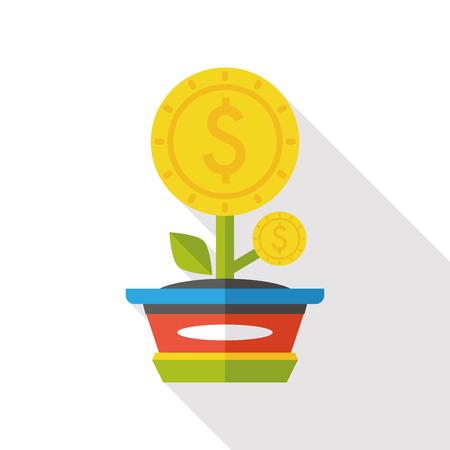 grow money: money tree flat icon