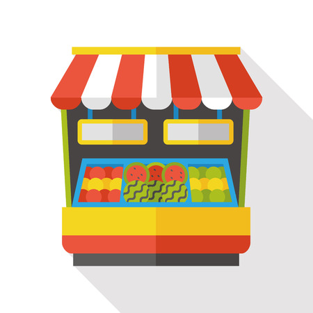store: grocery store flat icon Illustration