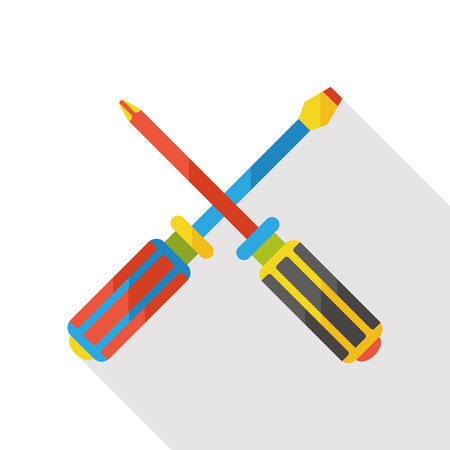 screwdrivers: Screwdrivers tool flat icon Illustration