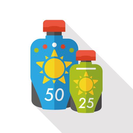 moisturizer: summer sunscreen flat icon Illustration