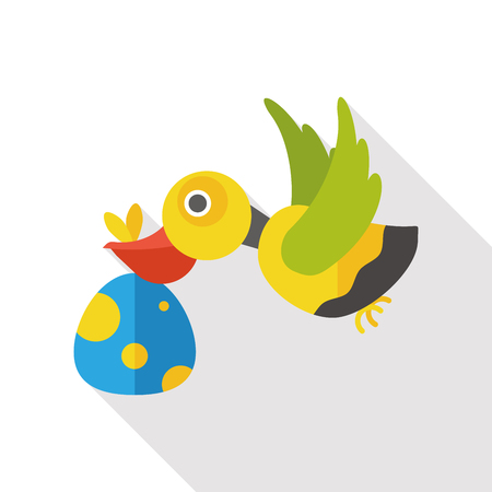 baby delivery: Baby Delivery Stork flat icon