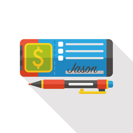 chequebook: money check flat icon