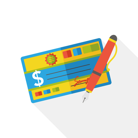 checkbook: money check finance flat icon Illustration