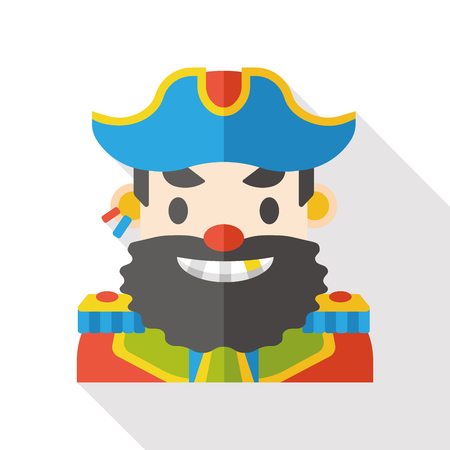 white patches: pirate character flat icon Illustration